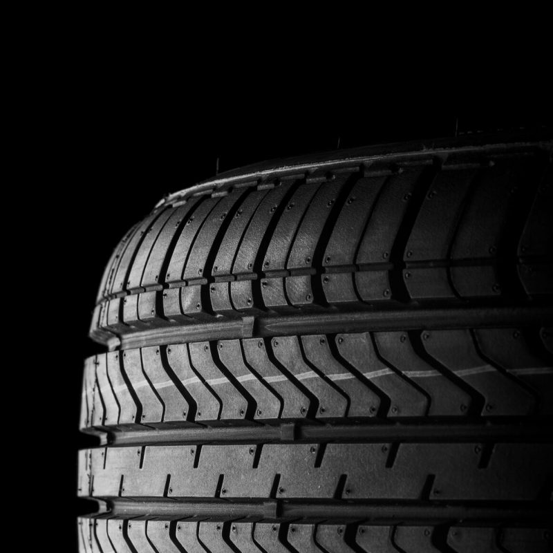 black isolation rubber tire, on the black backgrounds